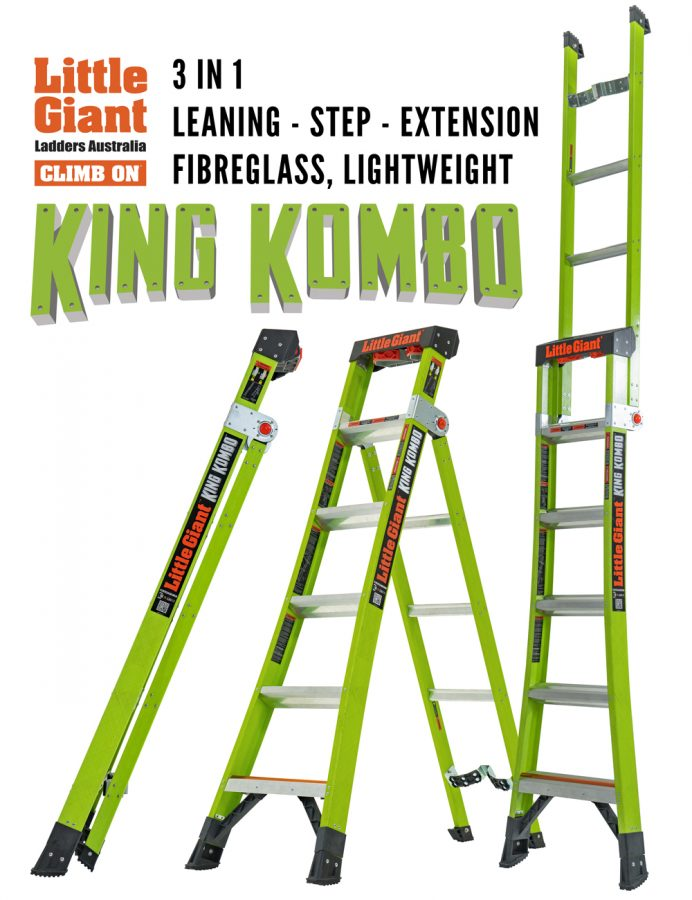 King Kombo three in one lightweight fibreglass stepladder extension ladder leaning ladder